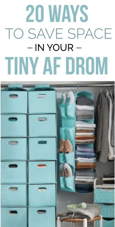 20 Space Saving Hacks For Your Tiny AF Freshman Dorm is part of Dorm closet - If you're looking to save space in your small dorm room, these are space saving hacks for your college dorm to make it feel bigger and more organized! College Dorm Closet, College Closet Organization, College Dorm Storage, Dorm Room Closet, Dorm Room Storage, College Room, Organization Ideas, Dorm Rooms, College Dorm Essentials