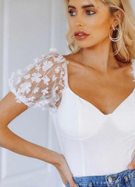 3D Applique Mesh Sleeve Milkmaid Top (sponsored)