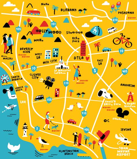 Pin By Sarah Morgan On Vision Board Illustrated Map Map Los Angeles Map