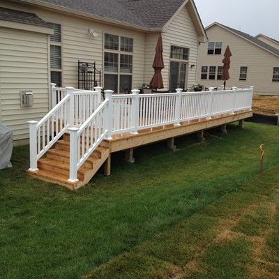 30 X12 Pressure Treated Framing With 2 X6 Cedar Decking Pvc Railing With Top Supported Railing Cedar Deck Outdoor Living Deck Building A Deck
