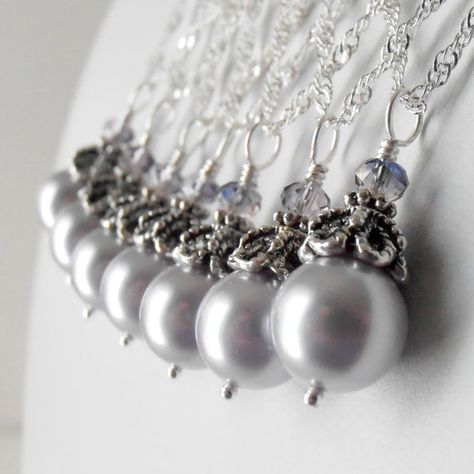Etsy store withe wedding jewellry - Pale Lavender Pearl Necklace Bridesmaid Jewelry Sets Beaded Pendant Light Purple and Silver Wedding Jewellery Bridesmaid Gift, Guinevere