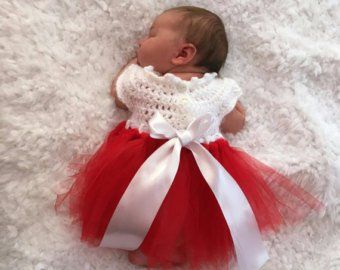 More Colours Christmas Dress White Ivory W Red Baby Dress Crocheted Bodice Tulle Tutu Skirt Sizes Newborn 0 3 Mo Christmas Dress Baby Dresses Valentine Dress