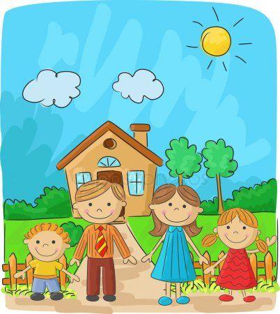 Dibujos Animados Familia Feliz Contra Un Paisaje Y La Casa