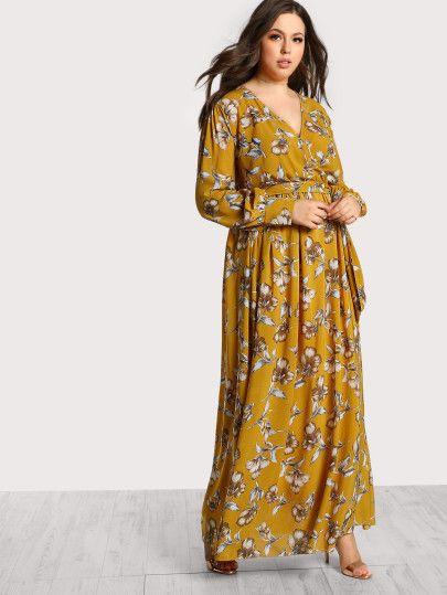 50d41b602d0df Floral Print Long Sleeve Maxi Dress -SheIn(Sheinside) | Shein | Maxi ...