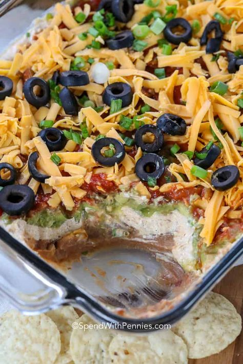 Simple and delicious, this easy 7 layer dip recipe is the perfect appetizer. Everyone will love it, trust me! #spendwithpennies #7layerdip #layerdip #sevelayerdip #7layerbeandip #beandip