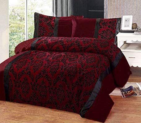 Burgundy Red Black Flock Design In Faux Silk Super King Duvet Cover Bed Set Amazon Co Uk Kitchen Home Arredamento Casa Stanza Da Letto Arredamento