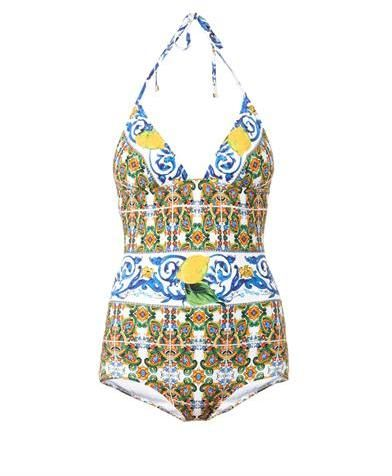 0ee77d235a4a9 Dolce   Gabbana Maiolica-print swimsuit on shopstyle.co.uk ...