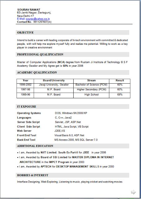 MCA Fresher Resume Template FreeDownload Fresher CV Format for MCA - j2ee fresher resume