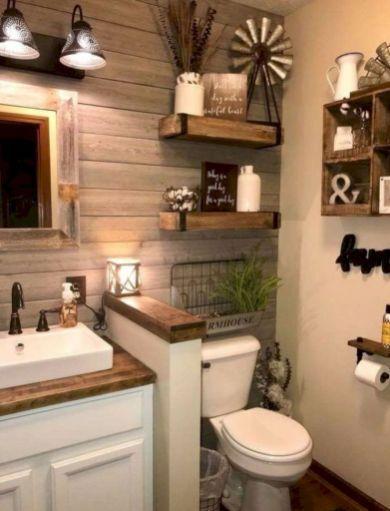 Comfy Farmhouse Bathroom Decor Ideas With Rustic Style 28