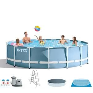 Intex 15 Ft X 48 In Deep Metal Frame Above Ground Round Pool And Maintenance Kit With Vacuum And Pole 28241 Intex Above Ground Swimming Pools In Ground Pools
