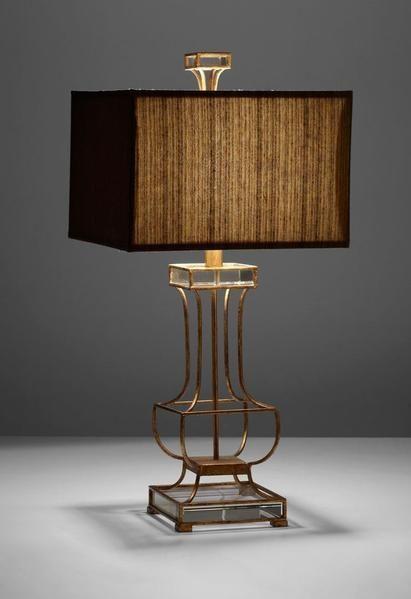 Open Metal Frame Lamp With Rectangular Brown Shade Cyan Design Pinkston Table Lamp California Collection Modern Lamp Design Masculine D Zimmer Schlafzimmer