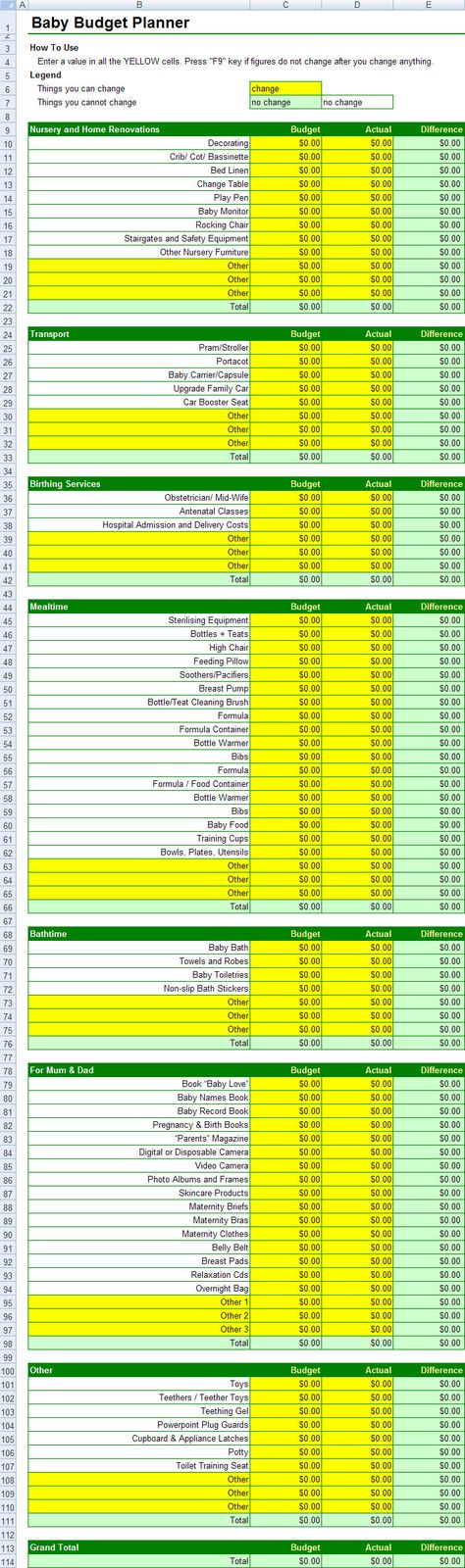FREE Baby Budget Planner Spreadsheet Baby on a budget Pinterest