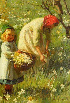 "Harold Harvey - reproduction oil  ""Picking Daisies"""