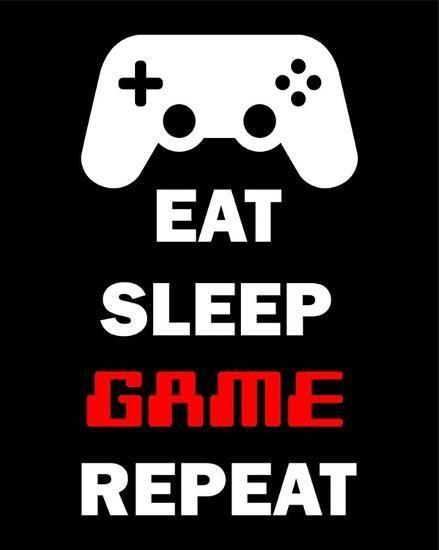 Eat Sleep Game Repeat Black Art Print Color Me Happy Art Com Game Room Wall Art Gaming Wall Art Video Game Font