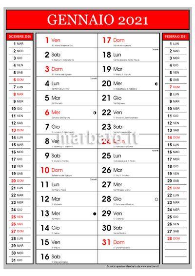 Classico e utile calendario mensile 2021 con i santi da scaricare