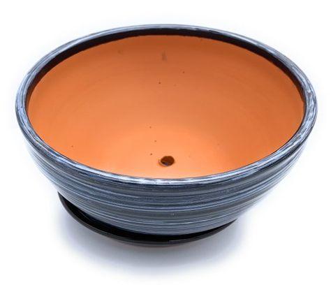 Glazed Ceramic Shallow Flower Pot With Saucer Black Round Etsy Flower Pots Glazed Ceramic Ceramic Flower Pots