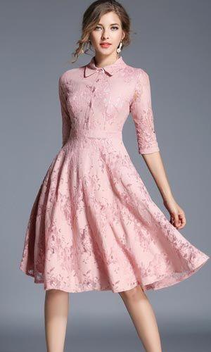 Bayan Elbise Diz Hizasi Harika Bir Model Ofis Is Elbisesi Olarak Da Kullanabilirsiniz Harika Kumasi S Lace Shirt Dress Lace Dress Long Sleeve Lace Skater Dress