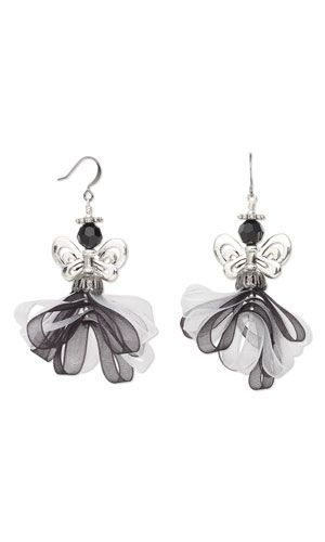 Earrings w/ Organza Ribbon, Antiqued Silver-Plated Pewter Beads & SWAROVSKI ELEMENTS--Project