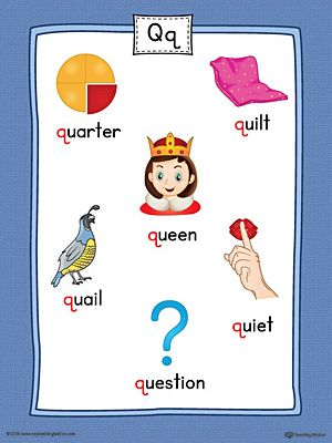 Words That Have The Letter Q.Letter Q Word List With Illustrations Printable Poster