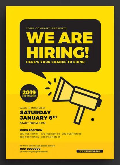 job vacancy flyer template ai psd