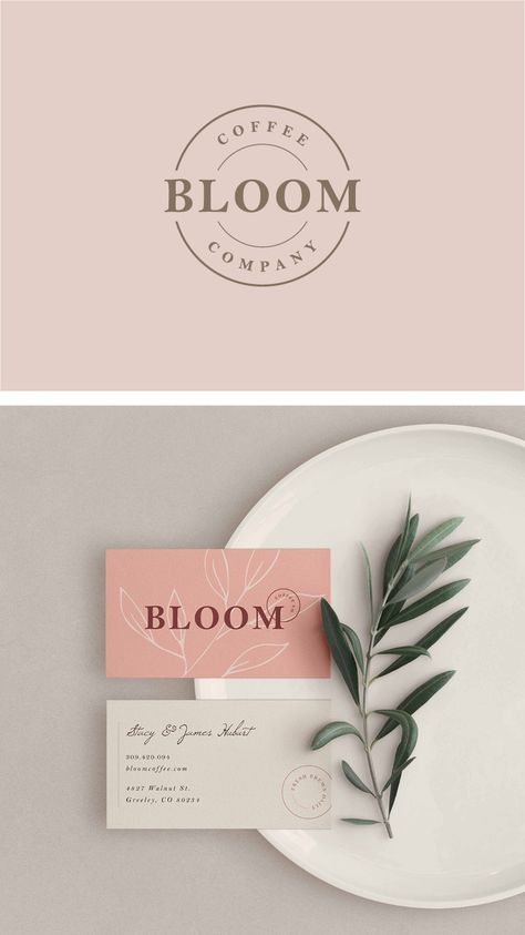 Business card and brand design for a boho, chic coffeeshop. Design inspiration. Amarie Lael design.