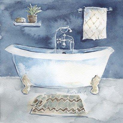 Watercolor Bathroom I By Marietta Cohen Bathroom Artwork Bathroom Art Watercolor Decor