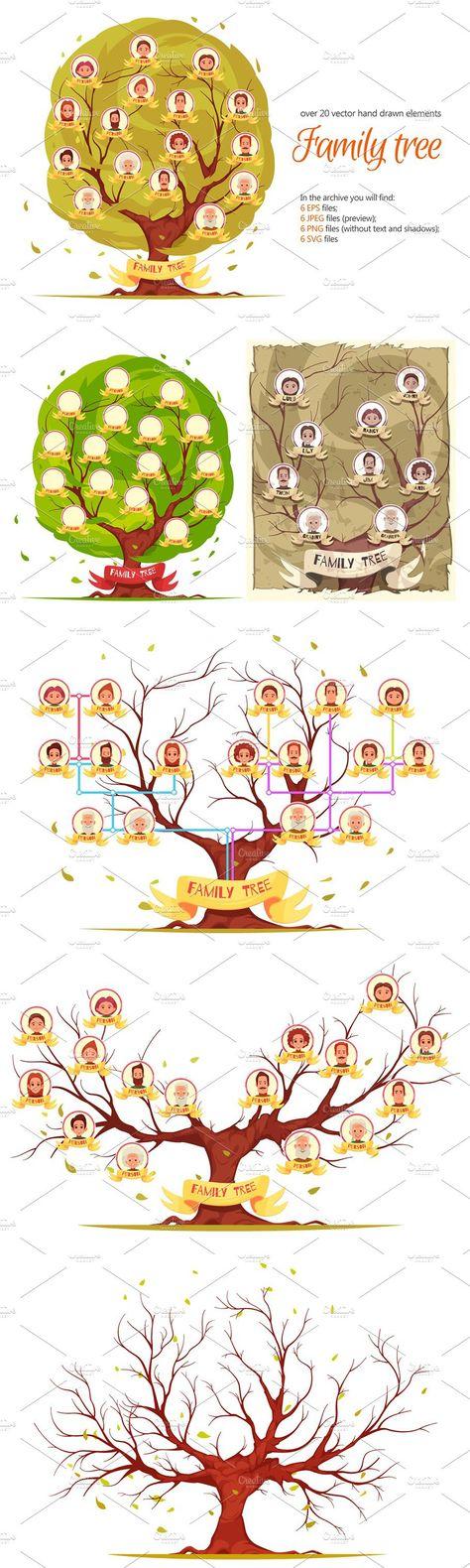 Family Tree Cartoon Set