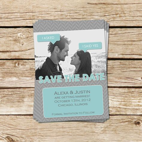 Speech Bubbles Wedding Save the Date Photo Card - Aqua & Gray or You Choose Colors - Personalized Printable Wedding Announcement. $15.00, via Etsy.