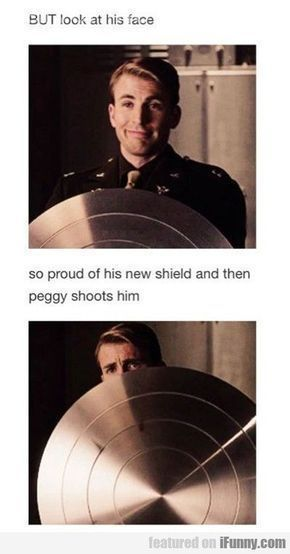 Captain America is so proud of his new shield and then Peggy shoots him
