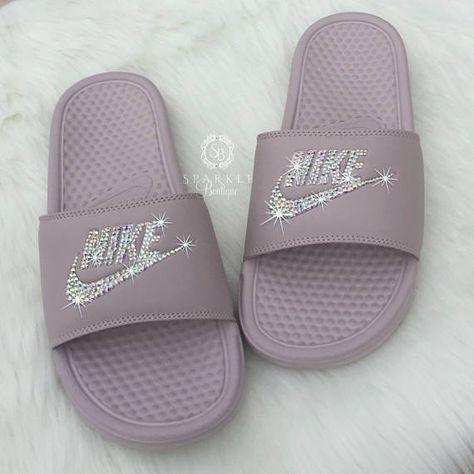 info for 90144 434ca Nike Slides - Swarovski Nike - Crystal Sandals - Bedazzled Nike - Nike  Benassi JDI Slides - All Siz