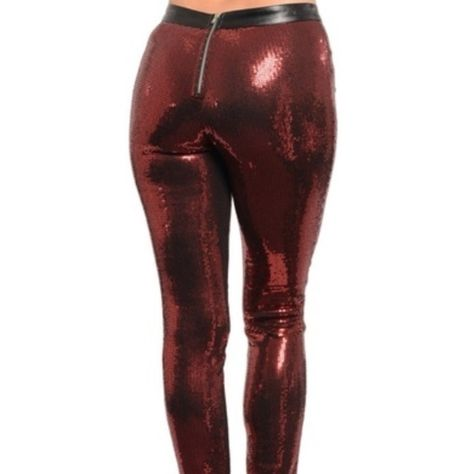 Red sequin leggings This standout ladies leggings features an allover sequined design with zipped back closure. Fabric Content: SHELL 97% POLYESTER 3% SPANDEX CONTRAST 100% POLYURETHANE Pants Leggings