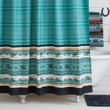 Chimayo Shower Curtain Turquoise Southwestern Shower Curtains