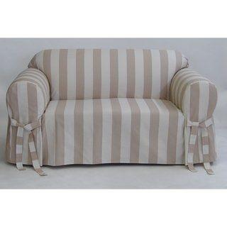 Classic Slipcovers Cabana Stripe One Piece Sofa Slipcover Grey And White Stripe Gray Slipcovers Cushions On Sofa Box Cushion