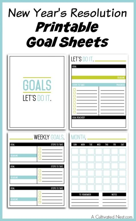 New Year S Resolution Printable Goal Sheets New Years Resolution Printable Goal Sheet Resolutions Printable New year resolutions templates
