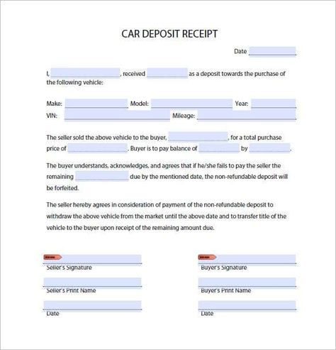 4 Car Deposit Forms Invoice Template