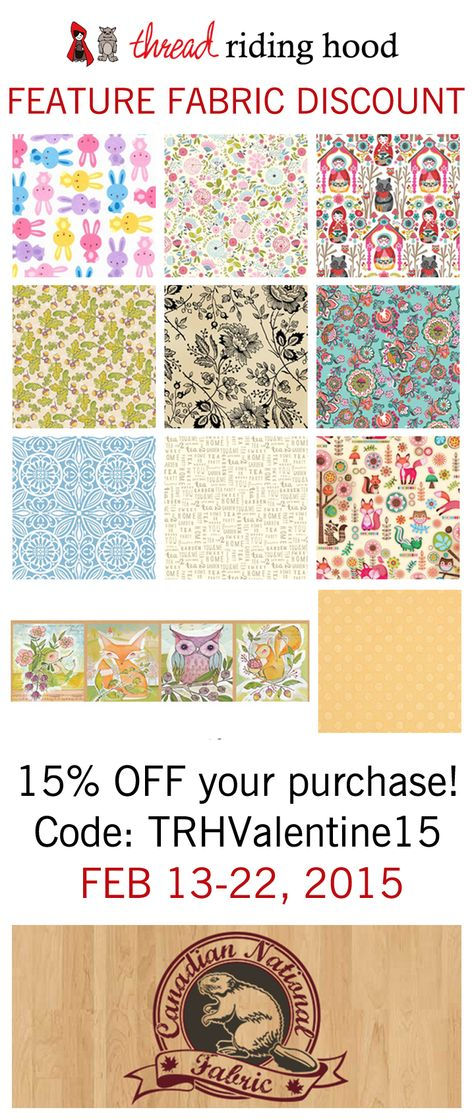 Get 15% off your purchase with this discount code from @CDNnatFAB! From February 13-22, 2015.