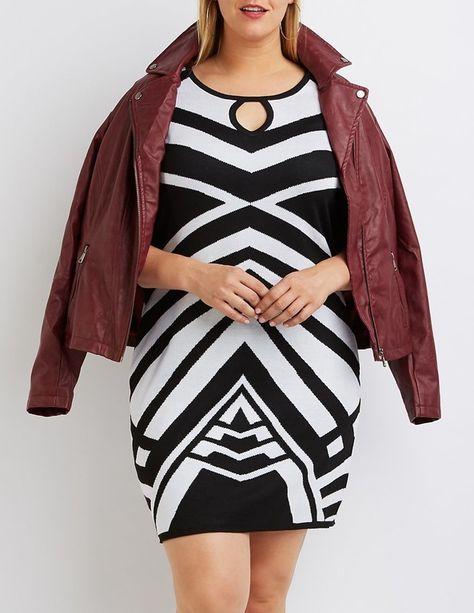 97018396d Plus Size Geometric Sweater Dress | Charlotte Russe