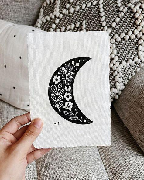 Crescent Moon Linocut Art Print No. Linocut Prints, Art Prints, Block Prints, Lino Art, Garden Illustration, Stamp Carving, Linoprint, Tampons, Woodblock Print