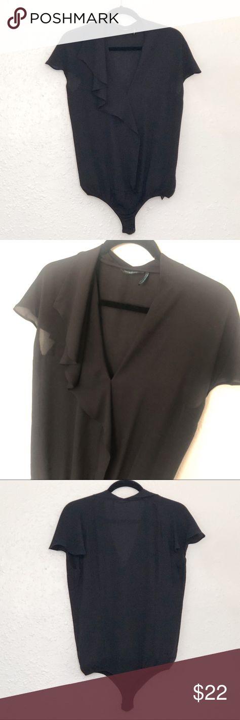 Guess By Marciano Black Ruffle Bodysuit MEDIUM