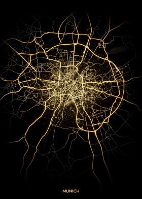 City Lights Map Munich Road map poster   map poster   road layout poster   City