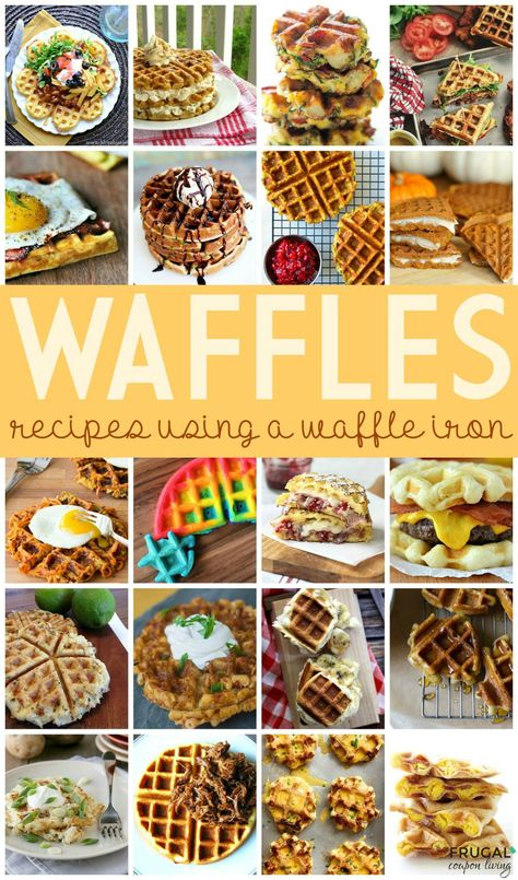 Easy to do Waffle Iron Recipes (outside the box and in the iron) - check out these creative Waffle Ideas for anytime of day on Frugal Coupon Living.