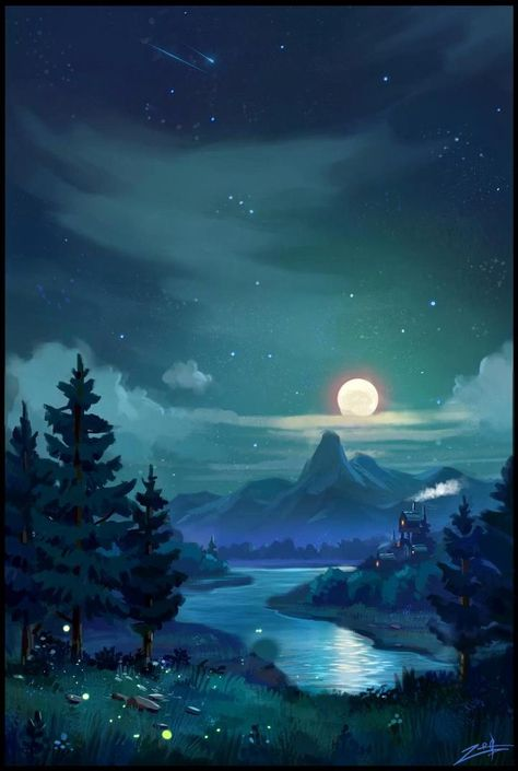 """""""Now not day only shall be beloved, but night too shall be beautiful and blessed and all its fear pass away."""" J.R.R. Tolkien  🎥: Me👉The Ransomed Dragon 🌃: Zoriy on DeviantArt #fantasylandscape #illustration #digitalart #dream #night #dungeonsanddragons #story #books"""