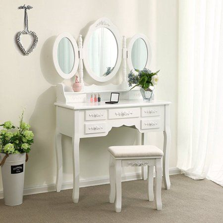 Ktaxon Dressing Table Makeup Desk Set 360 Rotation 3 Mirrors With 7 Drawers Bedroom Vanity White Walmart Com White Dressing Tables Dressing Room Decor Dressing Table Set