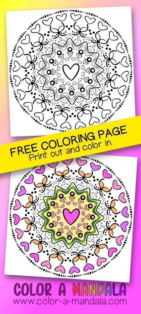 More Hearts Mandala Coloring Page Freecoloringpage