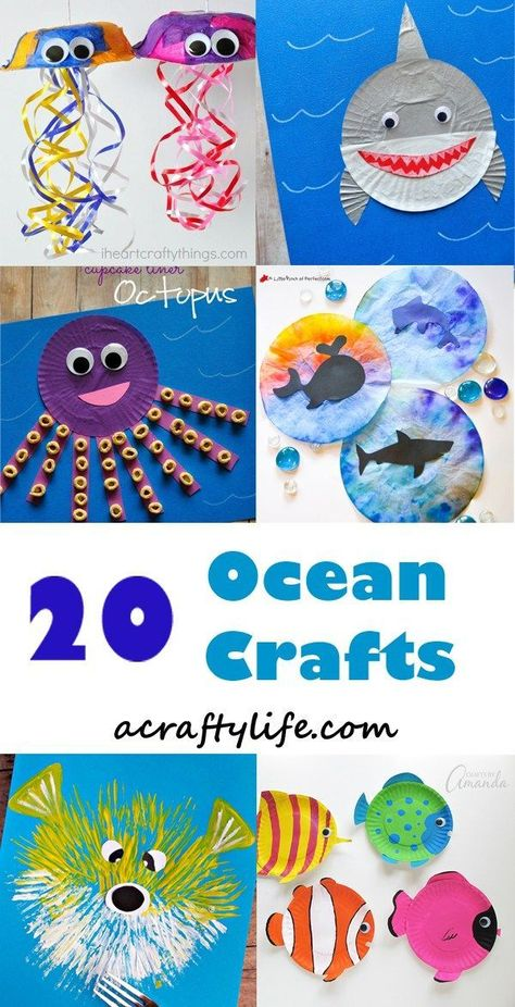 Fun Ocean Kid Crafts for Ocean Theme Week - A Crafty Life#crafts #crafty #fun #kid #life #ocean #theme #week