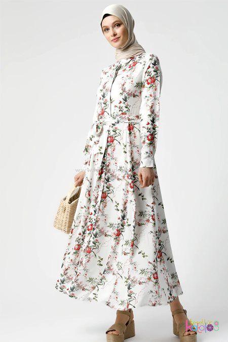 Beyaz Kirmizi Dogal Kumasli Cicek Desenli Elbise 2020 Elbise Modelleri Elbise Uzun Elbise