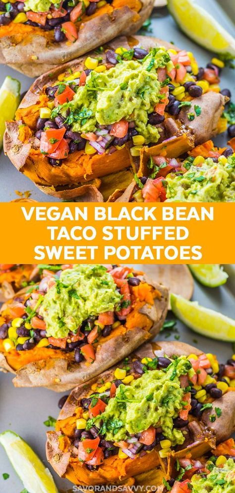 Easy Healthy Dinner Idea - Make this easy Black Bean Taco Vegan Stuffed Sweet Potato Recipe. This is one of my favorite healthy dinner recipes I turn to over and over again, because it's an easy dinner recipe that's also a healthy a healthy vegan and vegetarian recipe. #healthy #healthydinners #healthymeals #taco #vegantacos #stuffedsweetpotatoes #sweetpotatoes #vegan #vegetarian #vegetarianrecipes #veganrecipes