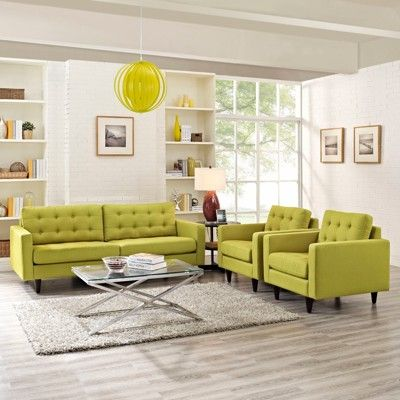 Set Of 3 Empress Sofa And Armchairs Wheatgrass Modway Living