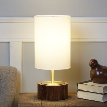 Better Homes Gardens Woodgrain Touch Table Lamp Walnut And Brushed Brass Finish Walmart Com Touch Table Lamps Table Lamp Touch Lamp