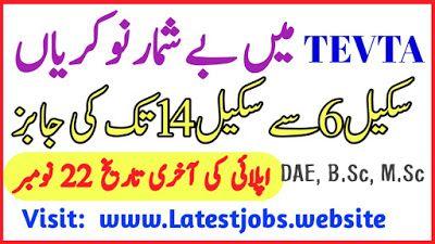 Government Of Punjab Tevta Jobs November 2019 Latest Advertisement Government Jobs In Pakistan Job